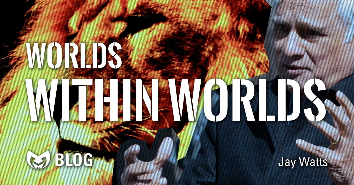 "Ravi Zacharias Tribute with an image of Ravi and Aslan in the background and text stating ""Worlds within worlds"""