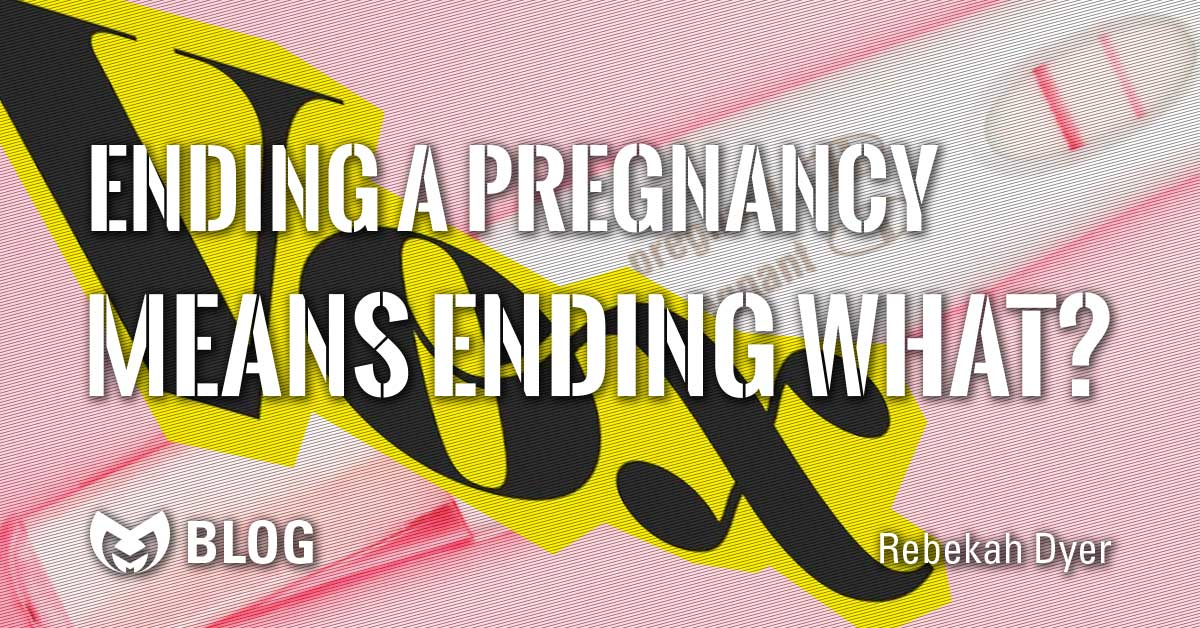 "A distorted Vox logo, with a positive pregnancy test behind it with text stating ""Ending a pregnancy means what?"""